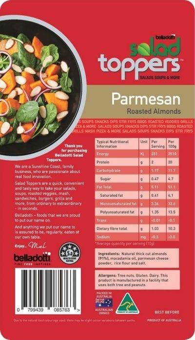 Parmesan Sliced almonds ingredients and NIP