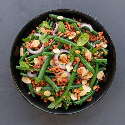 Bacon Bits on Bean Salad